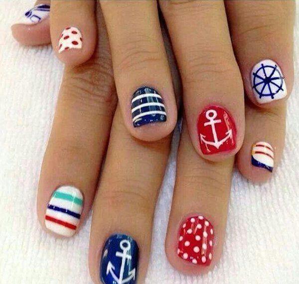 60 cute anchor nail designs anchor nail art anchor nail designs 60 cute anchor nail designs prinsesfo Images