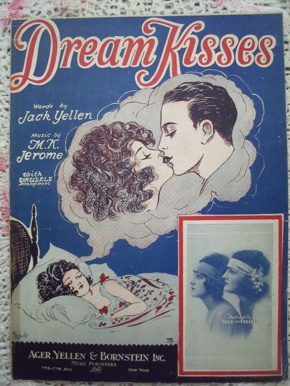 1927 Dream Kisses flapper sheet music by cindyscozyclutter, $5.99