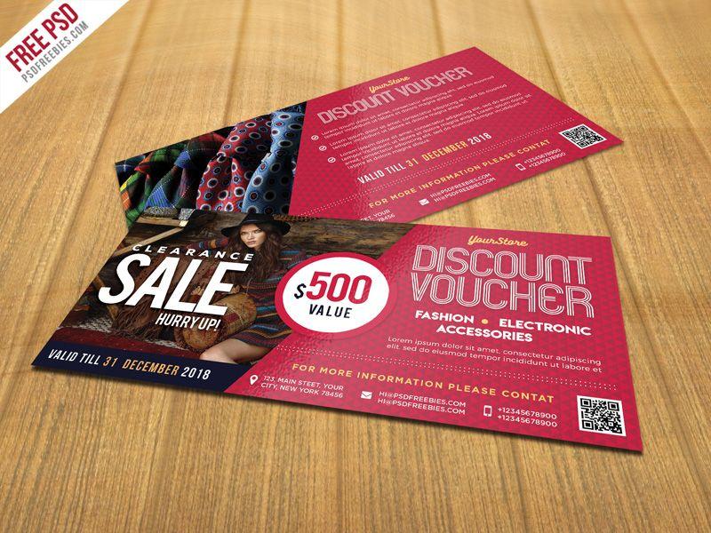 Free PSD  Sale Discount Voucher PSD Template Psd templates - free discount vouchers