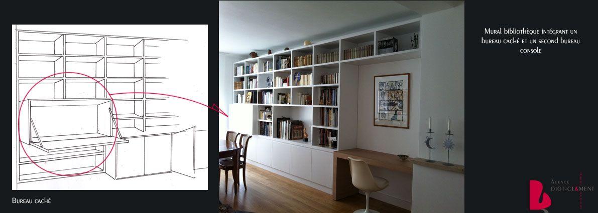 Agence Diot bibliothèque et bureau intégré | agence diot clément | bureau