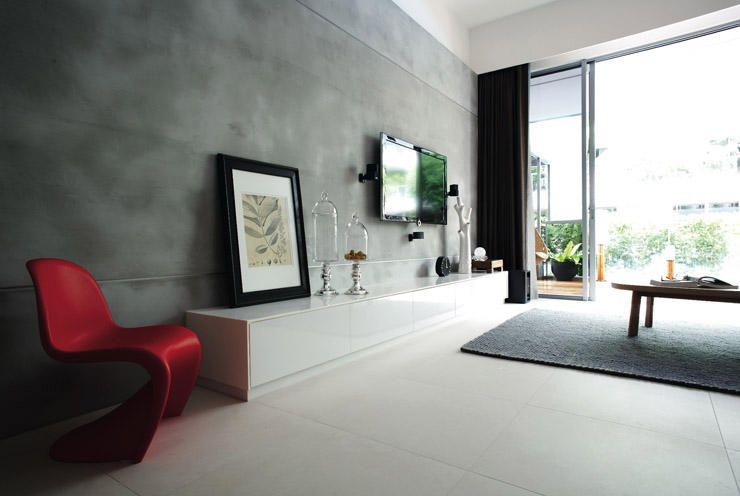 Living Room Feature Wall Grey Inspiring Decor Ideas Pinterest Cement Living Rooms And Walls