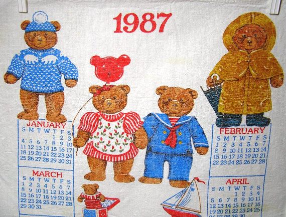 1987 Linen Calendar Towel with Bear Theme by VictorianWardrobe, $5.00