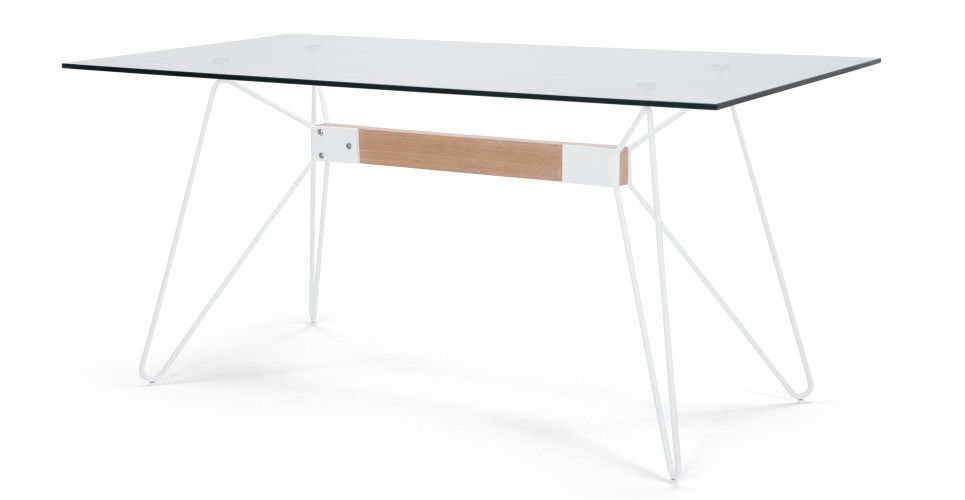 Fass Dining Table, White and Ash | made.com