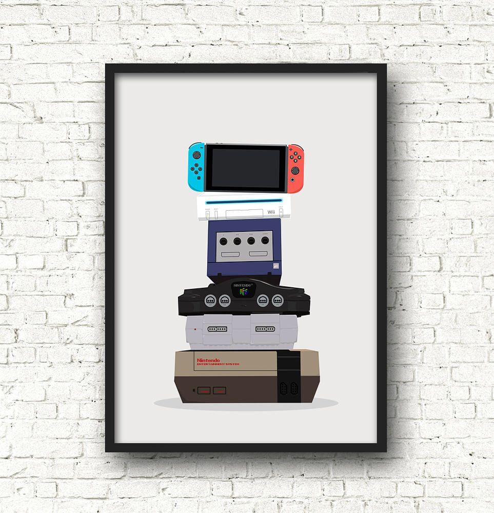 Evolution Of Gaming Print Poster Nintendo Consoles Gaming A3