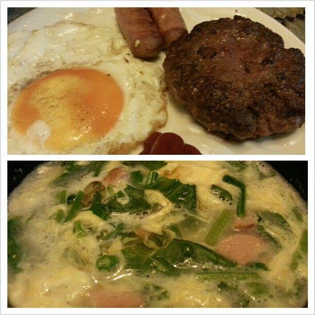 #朝ごはん #目玉焼き#ソーセージ#ハンバーグ そして絶品 #たまごスープ #sunnysideup #sausage#burger#steak and #delicious #yummy #egg#soup for.#breakfast #food#philippines#フィリピン