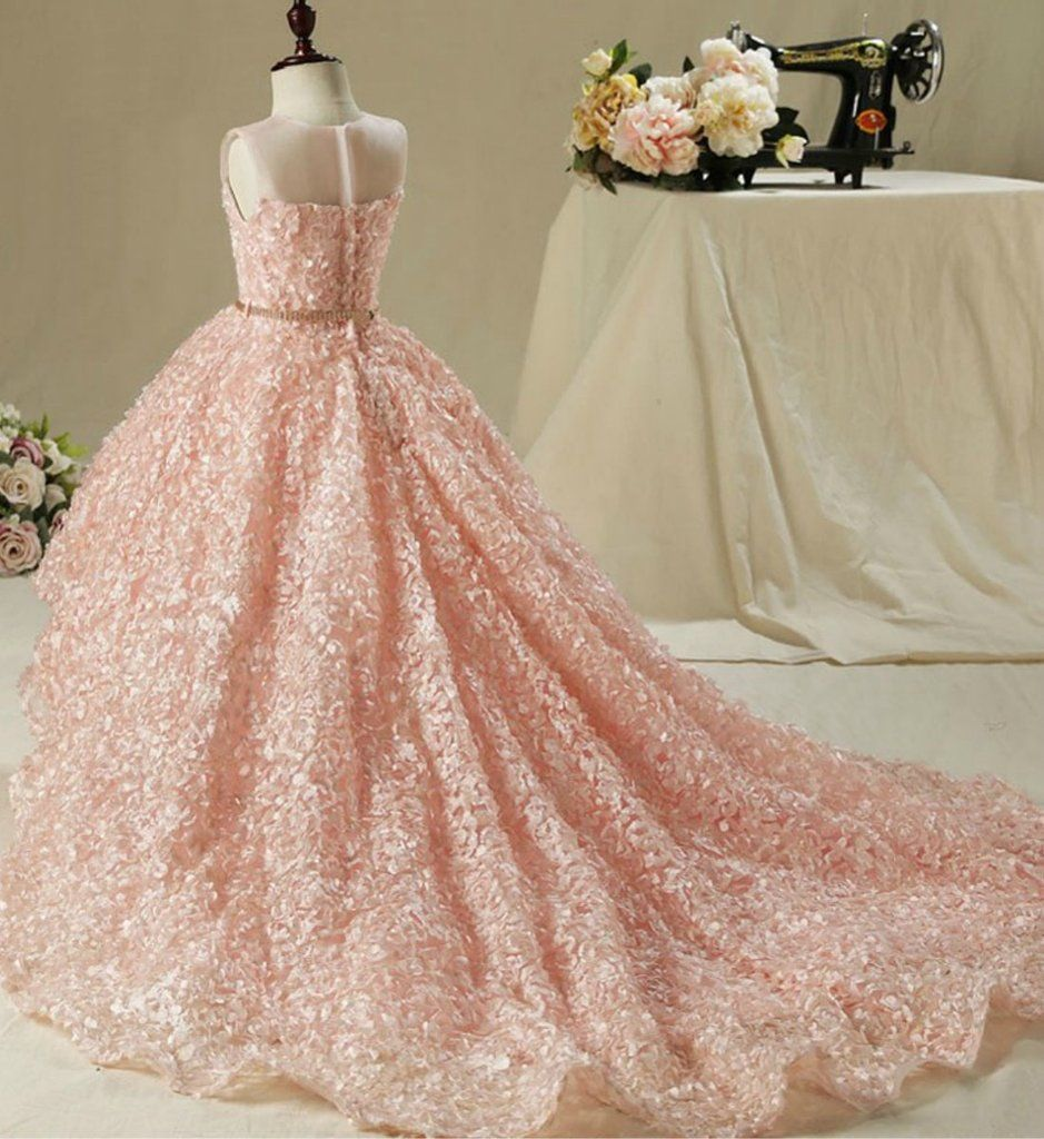 12ca3381123 3D Floral High Low Gown---Made To Order - High Quality Beautiful 3D Floral  Applique Sheer Round Neckline High low Train Flower Girl Gown With Gold  Belt ...