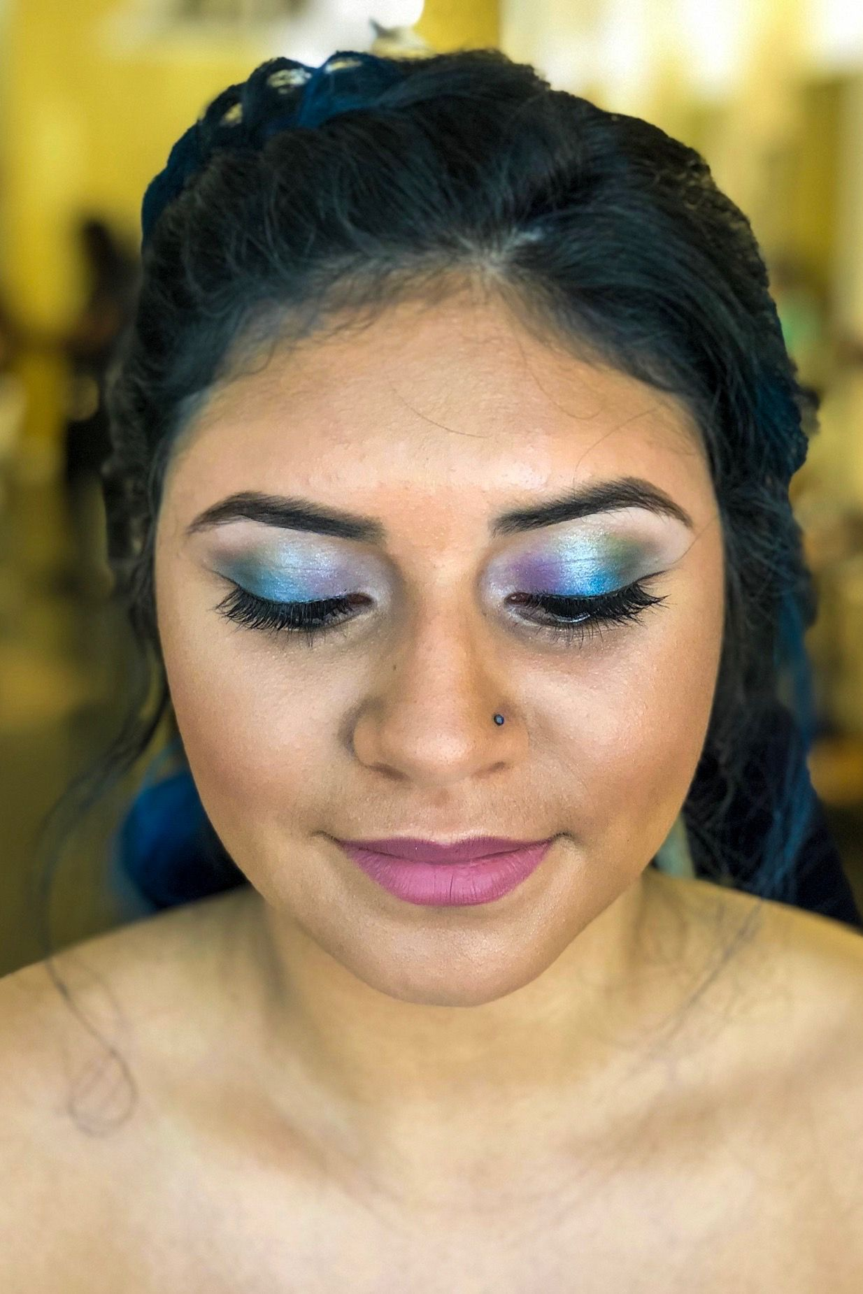 obsessed with this mermaid eye makeup for prom!! love the