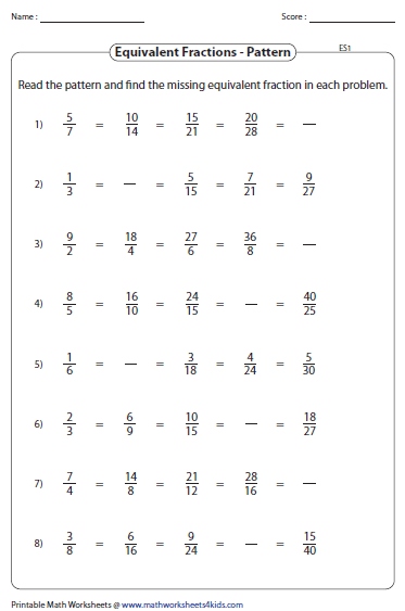 Equivalent Fraction Using Pattern Fractions Worksheets Fraction Practice Equivalent Fractions