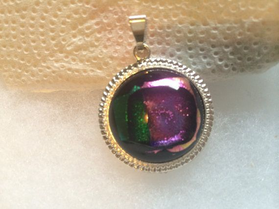 Purple and green fused glass pendant silver by fusedglassbyjemima, $20.00