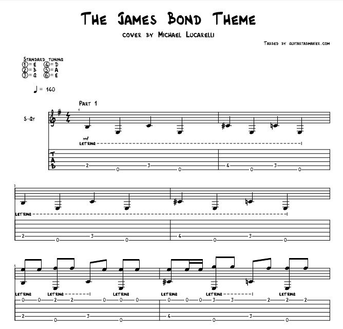 The James Bond Theme song fingerstyle guitar tab - fingerstyle ...