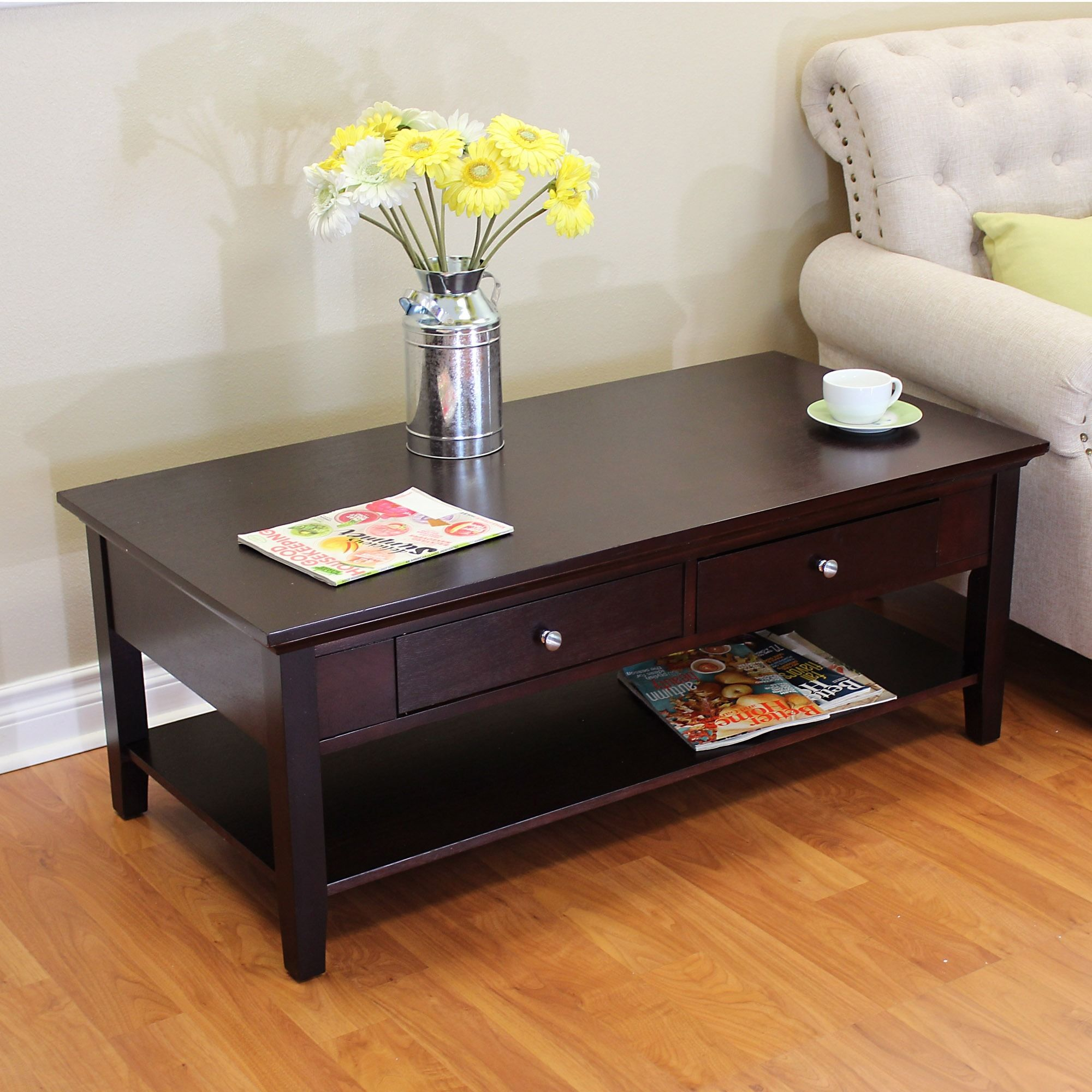 Donnieann Ferndale Two Drawer Espresso Coffee Table Transitional Style