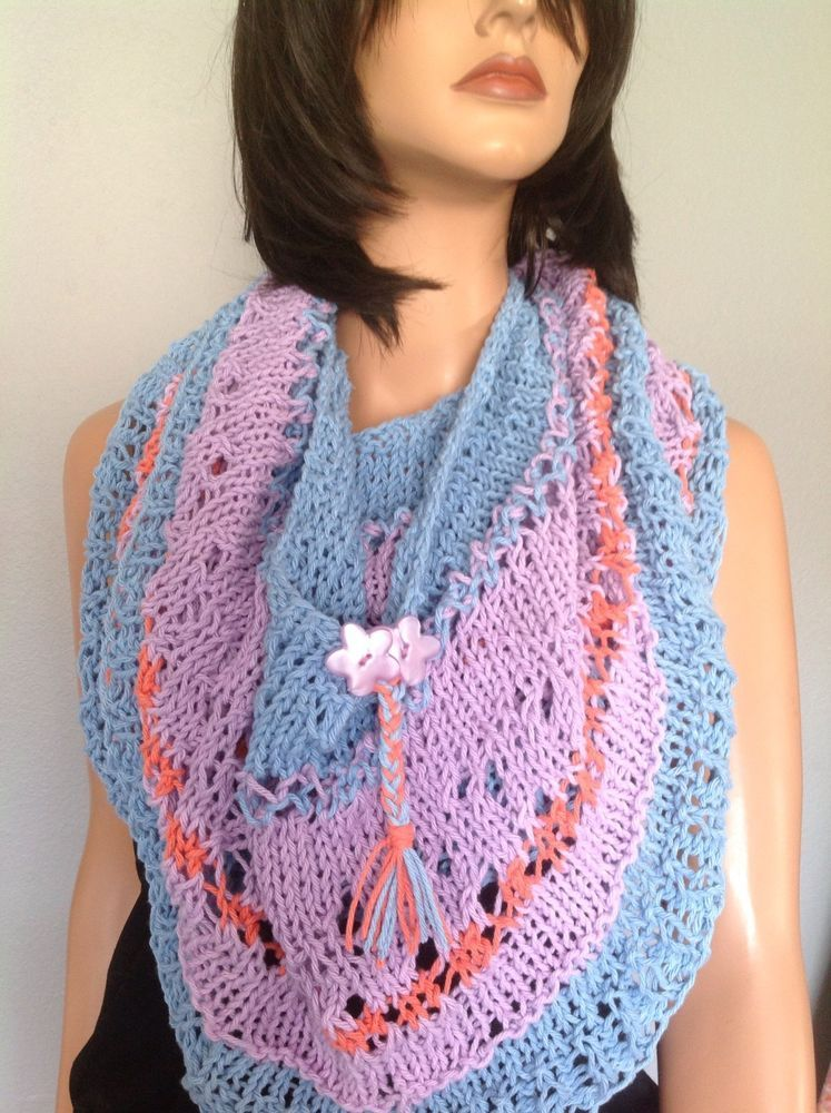Cotton Hand Knit Circular Shawl Wrap Cowl Designer Fashion Hip Flower Gift Lace  #HANDKNITS2LOVEMy4SeasonHandKnits #CircularShawlWrapCowlPoncho