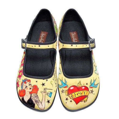 Hot Chocolate Design Chocolaticas Vintage Canvas Womens Mary Jane Flat Shoes