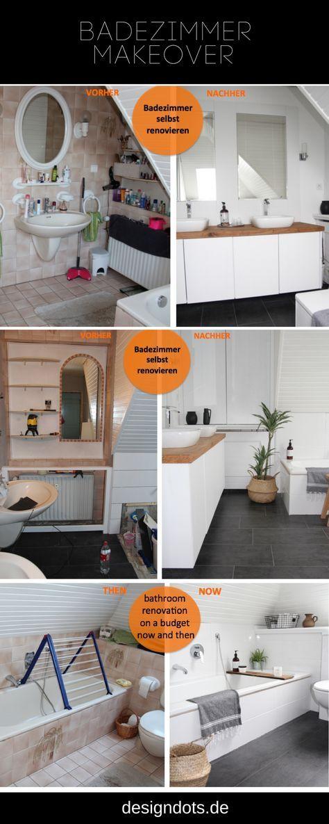 Badezimmer selbst renovieren vorher/nachher Baño Pinterest Baño