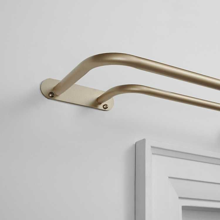 Gold Wrap Around Double Curtain Rod 72 In Double Rod Curtains