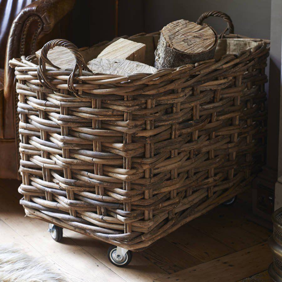 Rectangular Log Basket With Wheels And Handles Basket Rattan