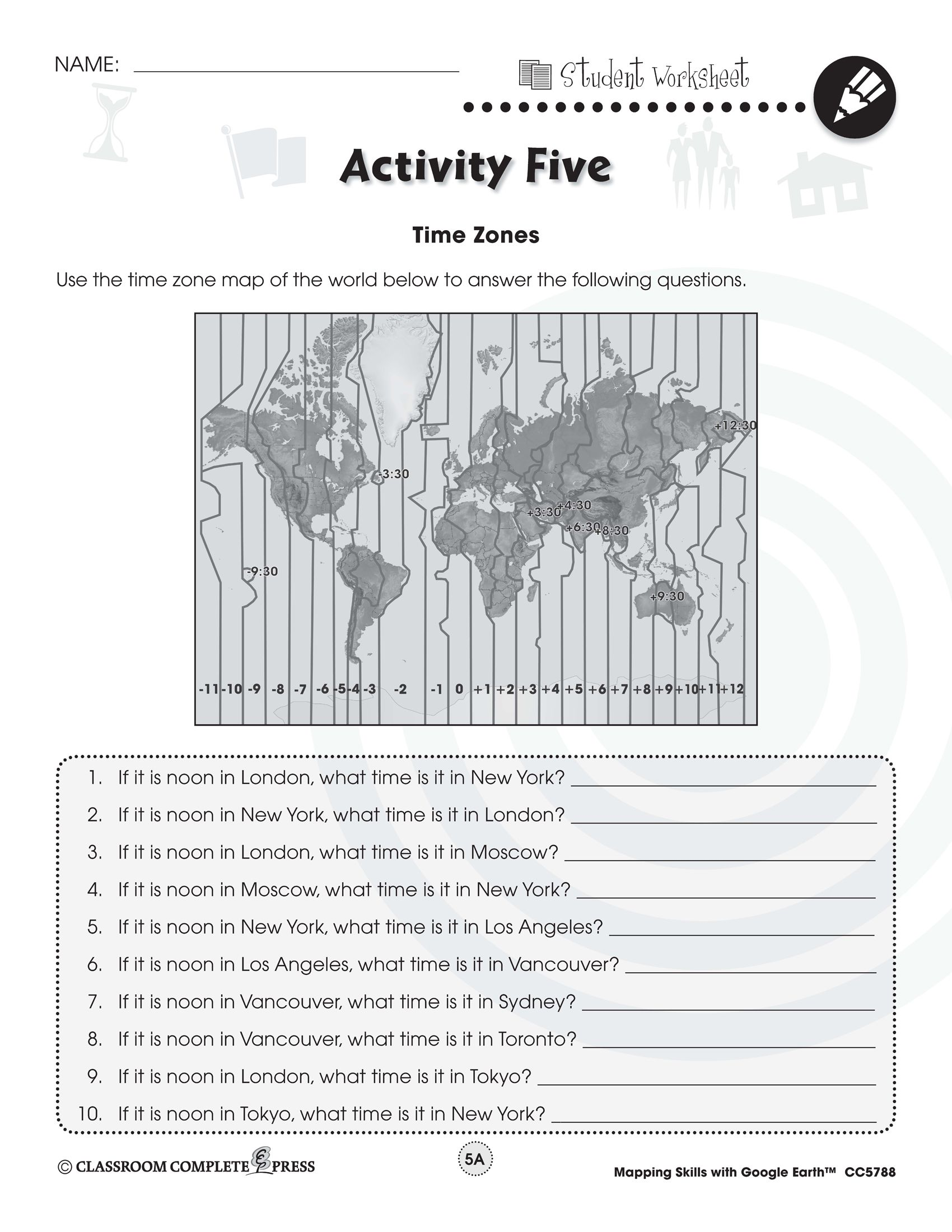 Read Time Zones Around The World With This Free Activity