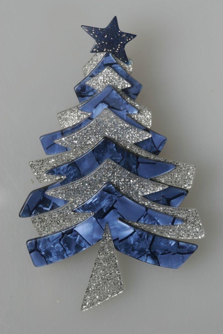 Lea Stein Blue Marbled Christmas Tree Pin w Silver Sparkles Paris ...