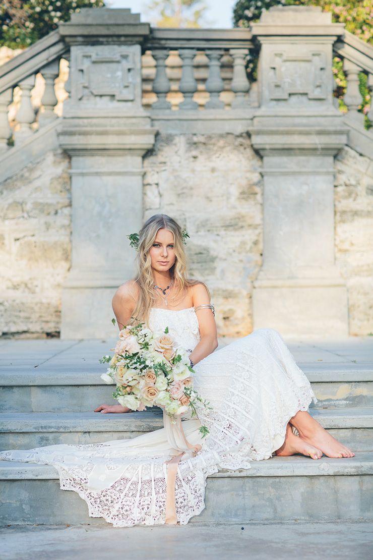 Summer dreaming wedding inspiration boho lace wedding dress lace
