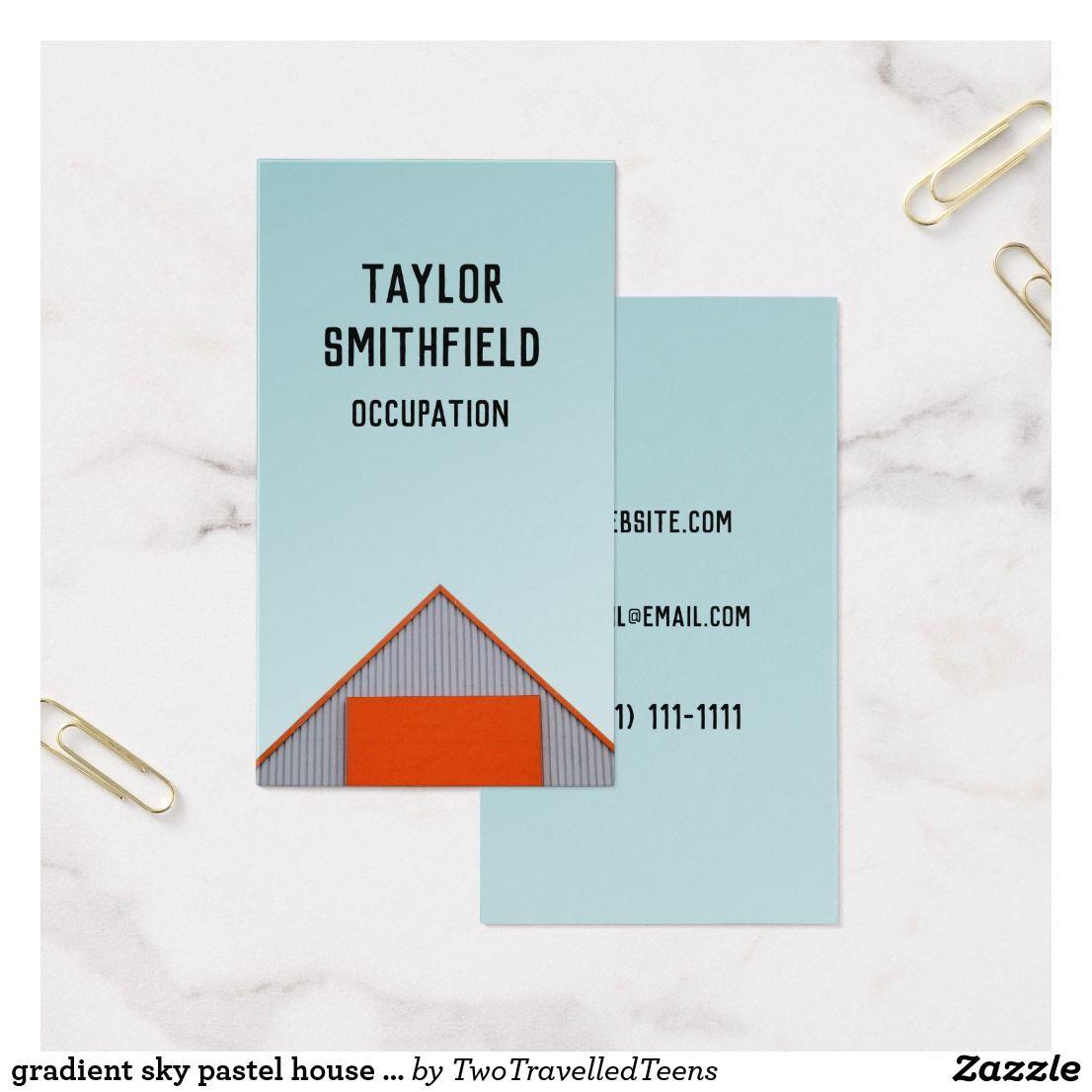 Gradient sky pastel house building business card | Pastel house ...