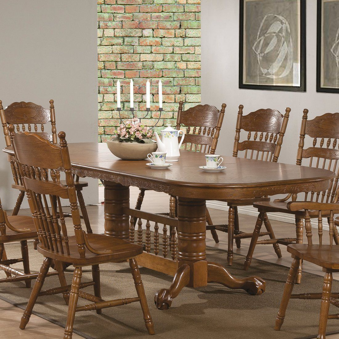 COUNTRY STYLE 9 PC OAK WOOD TRADITIONAL DINING TABLE & CHAIRS