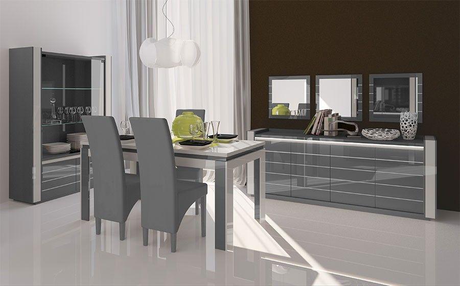 Salle à manger complète gris et blanc laqué design INDRO 4 Séjour