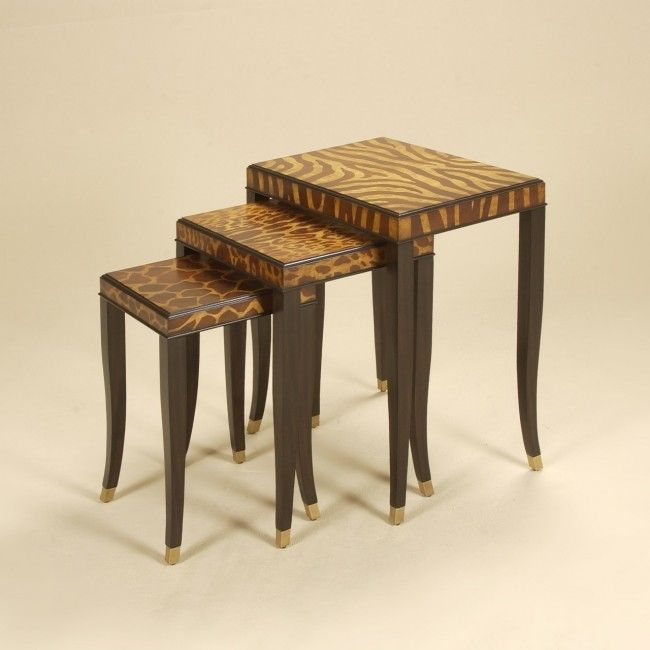 Safavieh Home Furnishings   Set Of Three Ebony Finished Nest Of Tables,  Call For Pricing