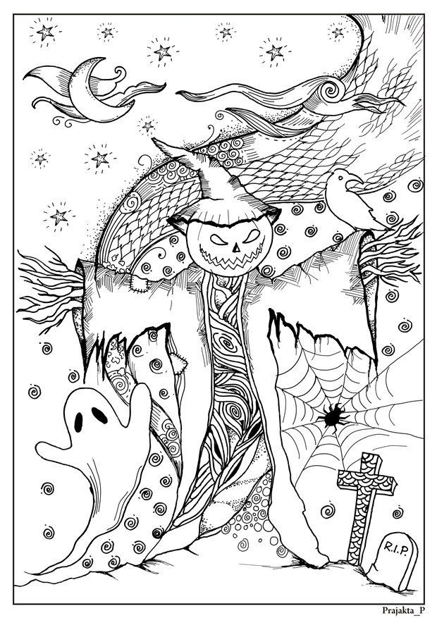 Scarecrow Halloween Coloring Page Instant Download Holiday Halloween Coloring Sheets Halloween Coloring Pages Halloween Coloring