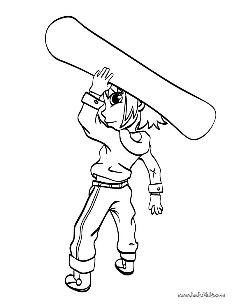 Boy with snowboard coloring page. More sports coloring pages on ...