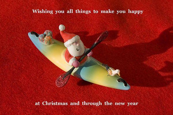 Santa Kayaking Greeting by FAA Artist Sally Weigand