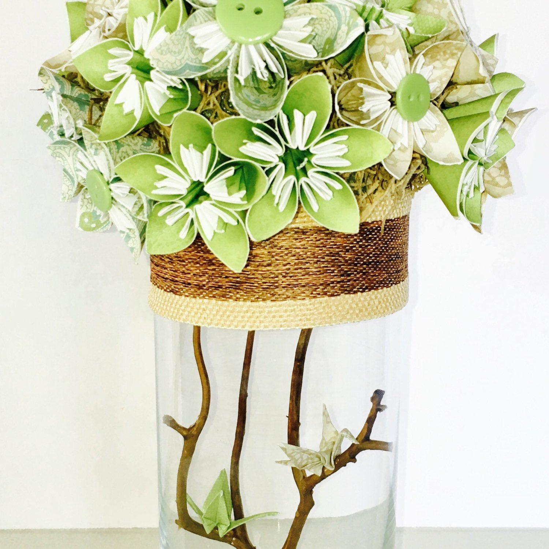 Centerpiece Wedding Centerpiece Paper Flowers Origami Cranes