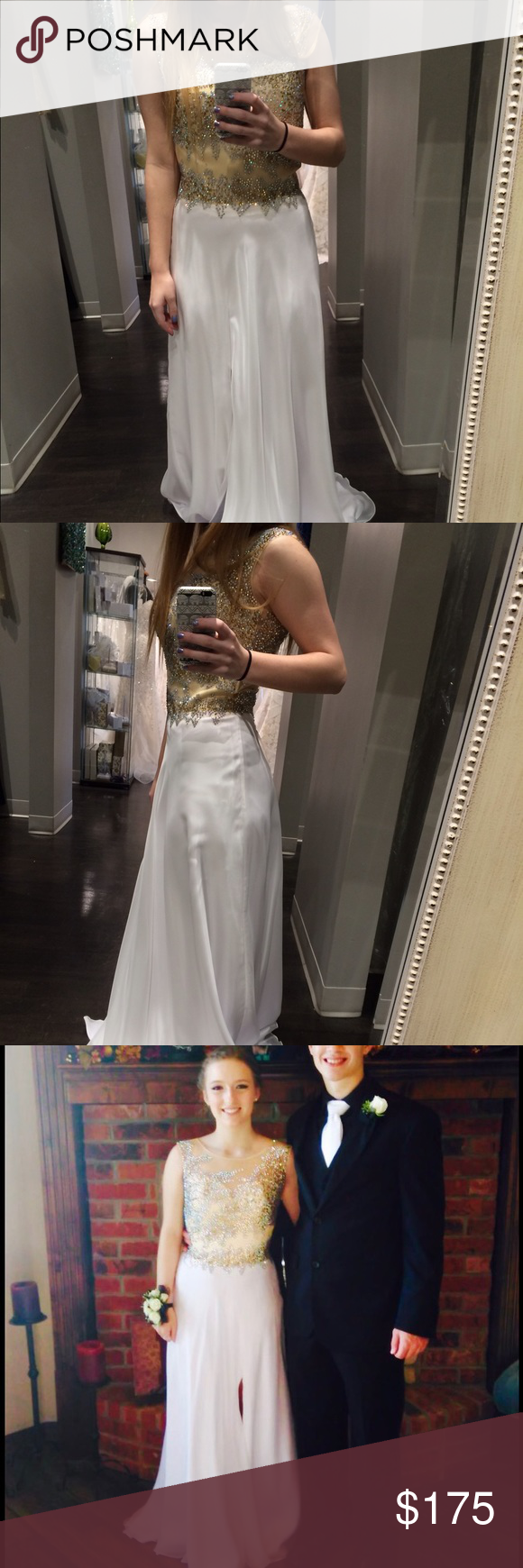 White and gold prom dress the dress is size but itus been