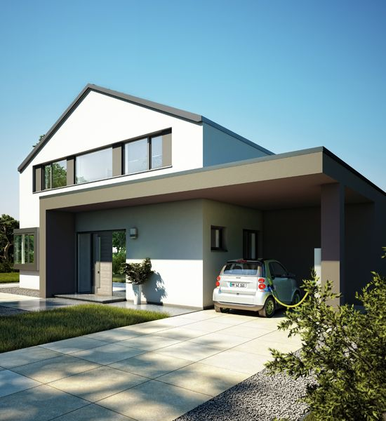 Irgendwie cool gelöst Auffahrt und Hauseingang überdacht und - boden und wandgestaltung in weis modern haus