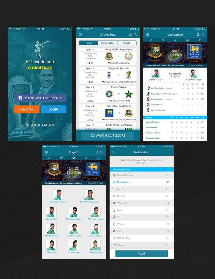 Cricket Live Update iOS APP UI | Stuff to Buy | App ui, Mobile app