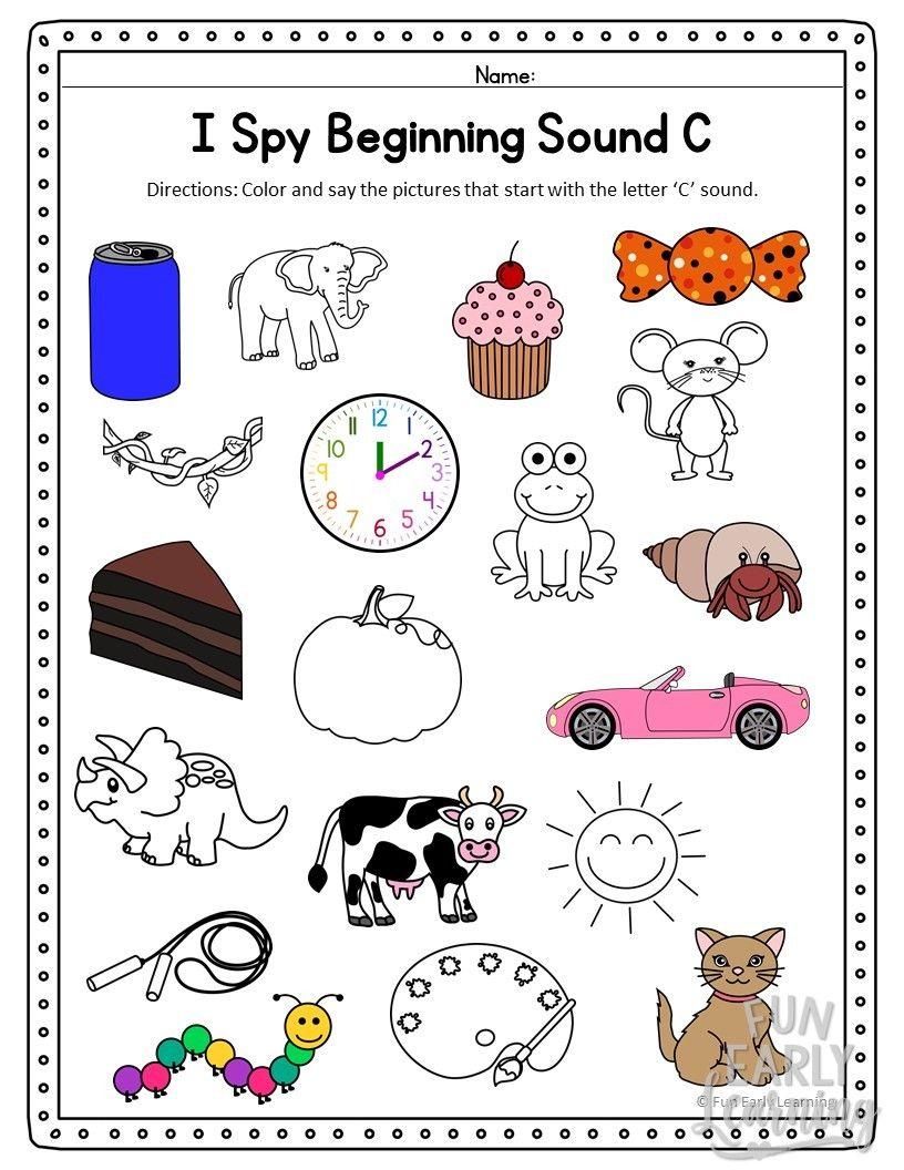 I Spy Beginning Sounds Activity Free Printable For Speech And Apraxia Beginning Sounds Worksheets Phonics Kindergarten Kindergarten Letters