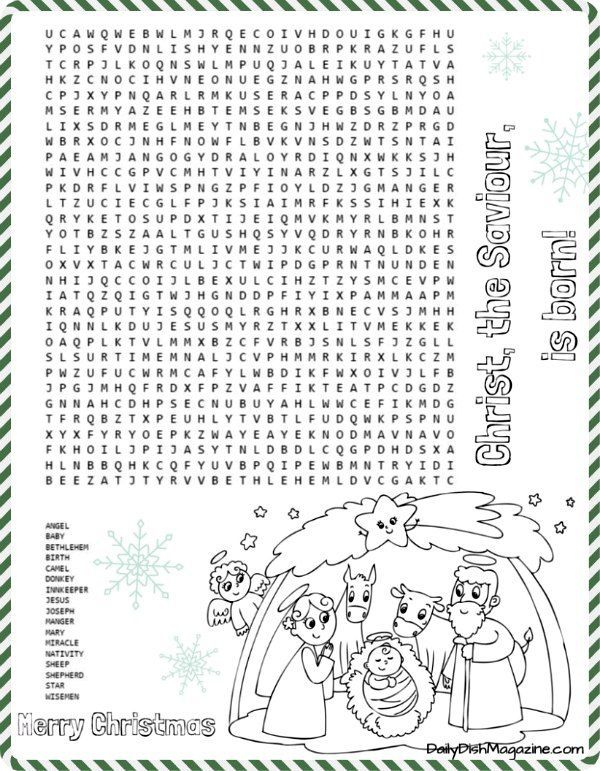 Get Ready For The Holidays And Celebrate True Meaning Of Christmas With This FREE Nativity Word Search Puzzle Coloring Scene