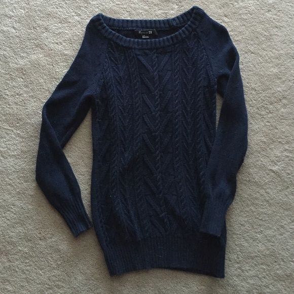 Navy blue tunic cable knit sweater Hardly worn. Has been sitting in storage for awhile. Navy blue. Cable knit. Will for xs as well as small. Forever 21 Sweaters Crew & Scoop Necks