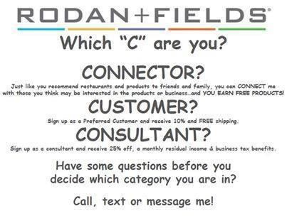 Curious about Rodan+Fields? Did you know that everything is done online? NO inventory to keep up with! NO deliveries to be made! NO money to keep track of!! NOT a party plan company! Discounts for Preferred Customers, even BIGGER discounts for Consultants!!! Tax write-offs, new friendships. The possibilities really ARE endless!!! Can't say enough good about Rodan+Fields and everything that goes along with it!! I am truly BLESSED and want to share this GIFT with all of my friends!!