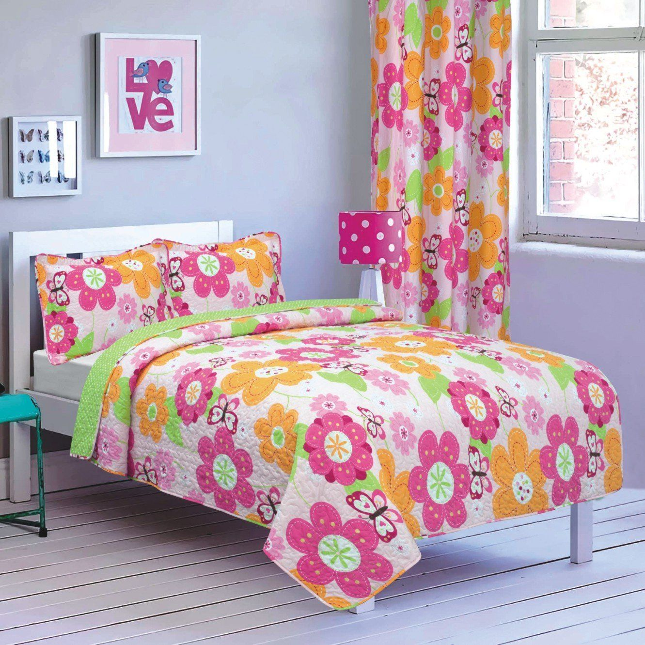 pink green floral girls bedding daisy twin twin xl quilt set coverlet bedspread