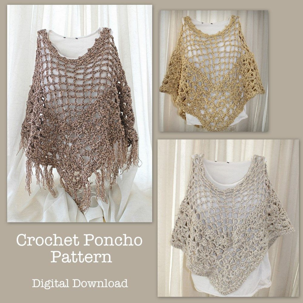 Crochet Poncho Pattern, boho beach poncho pattern, crochet summer ...
