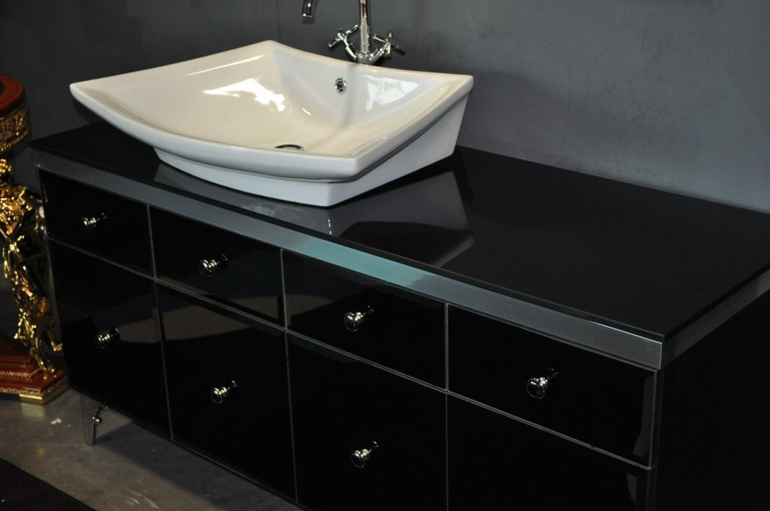 Modern Black Gloss Bathroom Vanity With Round Steel Knob Handles As Well As  White Ceramic Vessel