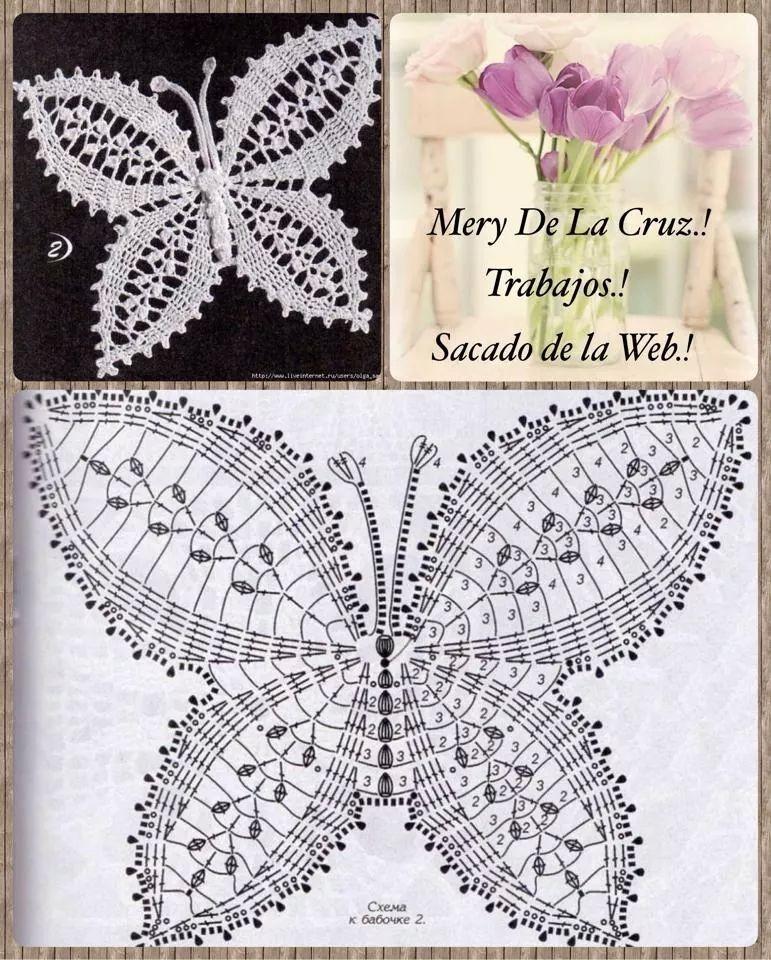 Mariposa crochet patron | motif | Pinterest