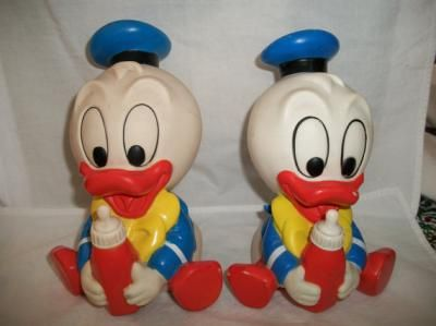2 Vintage 1986 Shelcore Rubber Babies Donald Duck Squeaky Toys