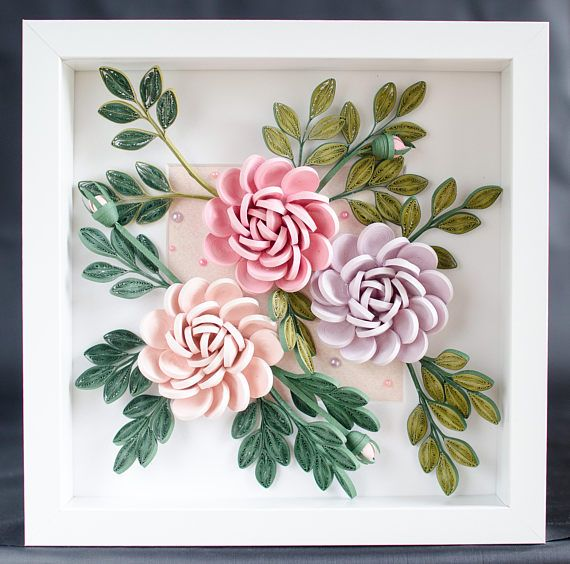Pink gift for wife quilling roses in shadow box 3 quilled roses pink gift for wife quilling roses in shadow box 3 quilled roses premium paper flowers pink and lilas roses quilled roses under glass mightylinksfo