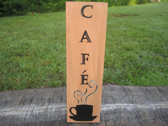 Cafe Sign, Kitchen Decor, Coffee Sign, French Sign, Coffee Mug Sign,