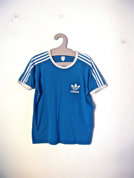 vintage Adidas t-shirt color light blue white summer tennis mod ... 4725c33d99a