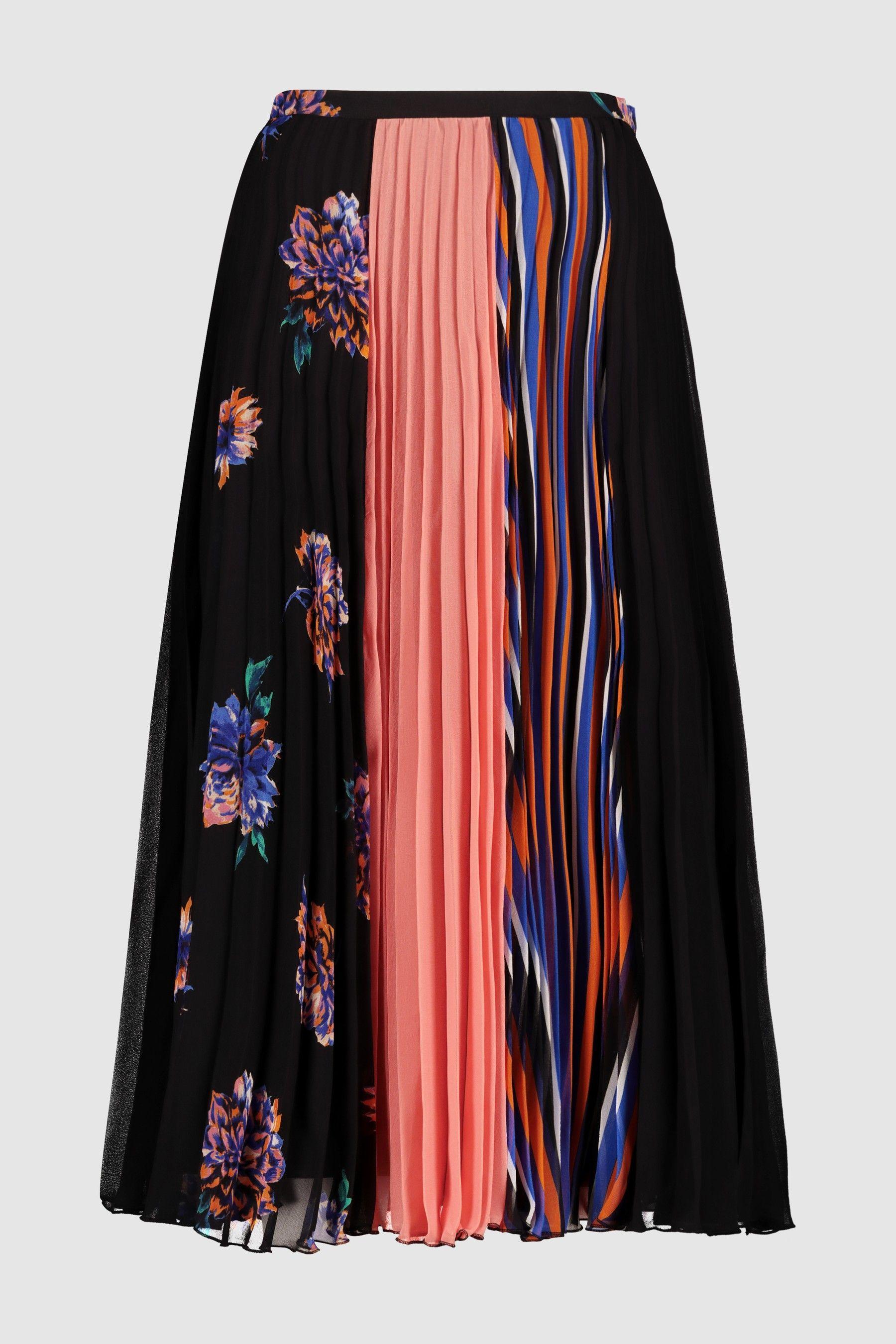 60895657d0 Womens Next Orange/Black Mixed Print Pleated Skirt - Black ...