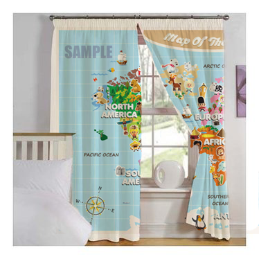 World Map For Kids   Window Curtains – Cute and Colorful   Ooooh