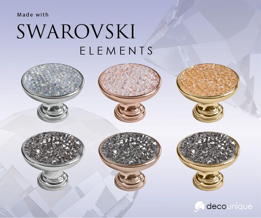 Swarovski Pull Knob 708 Gold finish, gold crystal Master bath ...