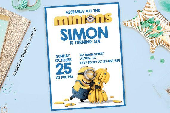 minions birthday invitation printable kids minion invite